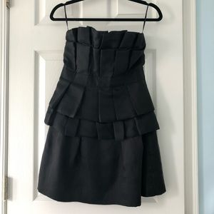 Aqua strapless taffeta mini cocktail party dress